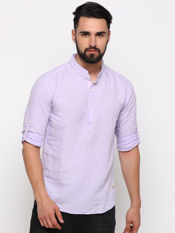 Showoff 100 Percent Cotton Blue Solids Shirt