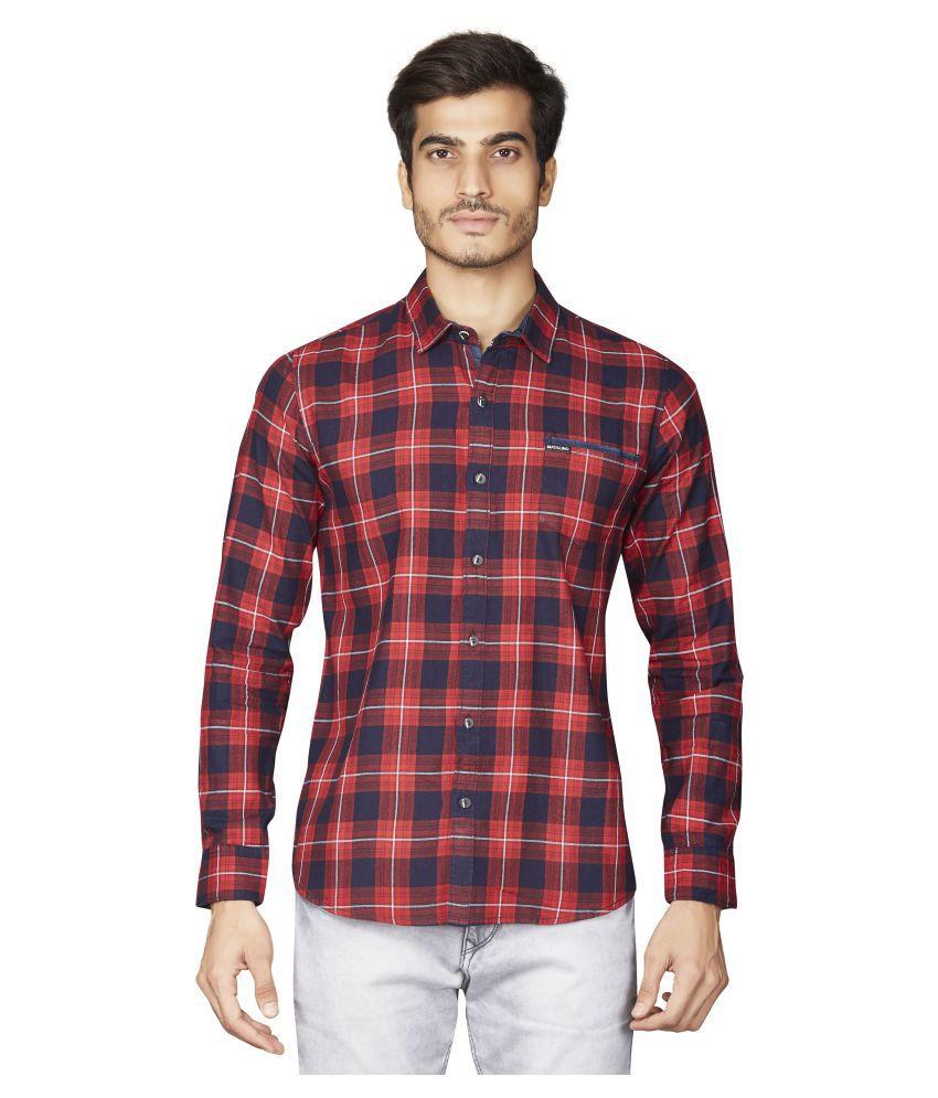 Matalino 100 Percent Cotton Red Checks Shirt