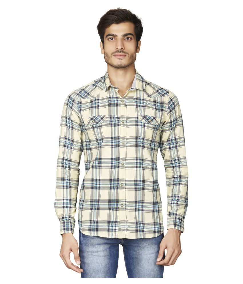 Matalino 100 Percent Cotton Yellow Checks Shirt