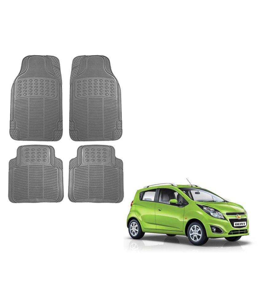 Auto Addict Car Simple Rubber Grey Mats Set of 4Pcs For Chevrolet Beat