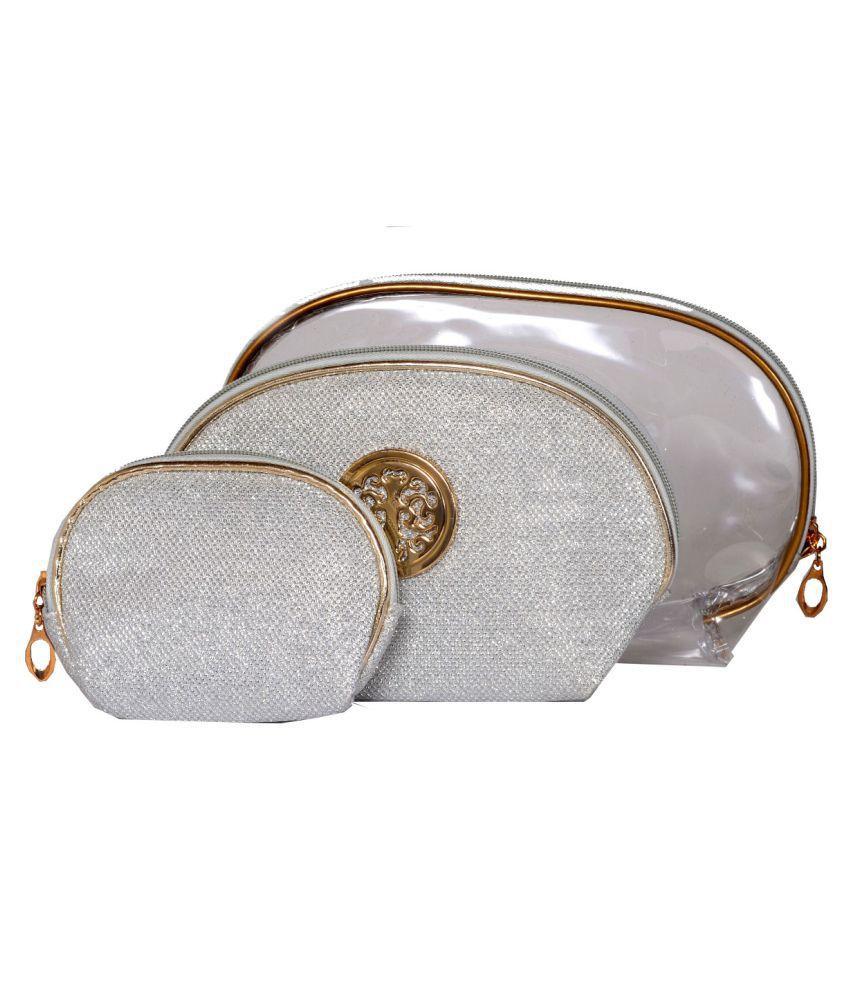 Bonjour Paris Silver Vanity Kit and pouches - 3 Pcs