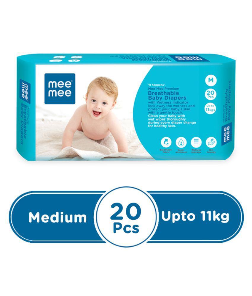 Mee Mee Premium Breathable  Baby Diapers (Medium - 20 Pieces)