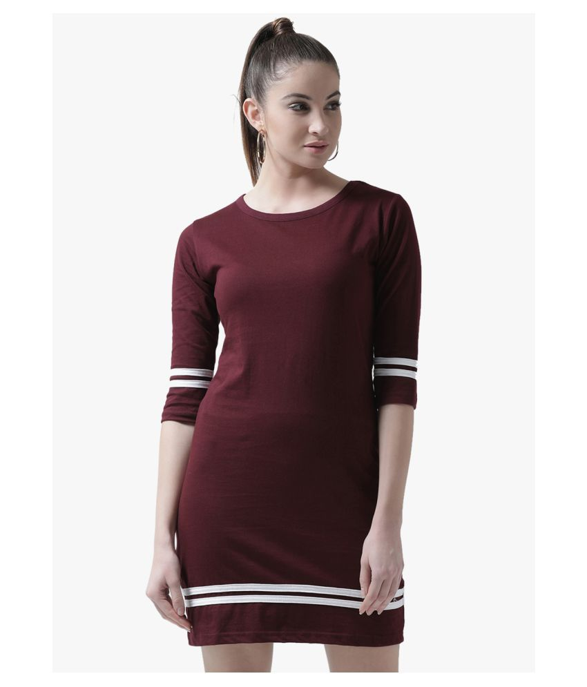 The Dry State Cotton Maroon Regular Dress