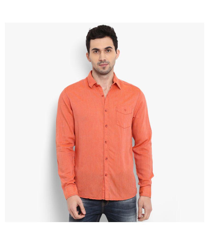 Mufti Cotton Blend Orange Stripes Shirt