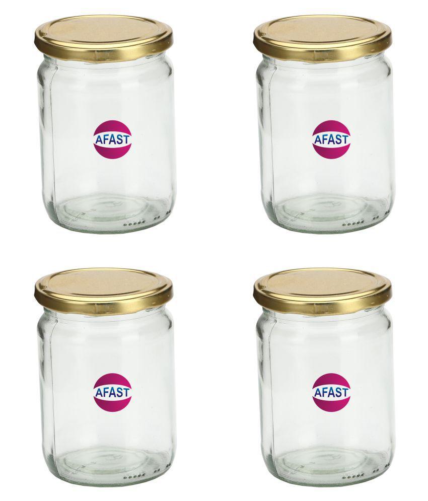 AFAST Transparent Jar Glass Oil Container/Dispenser Set of 4 350 mL