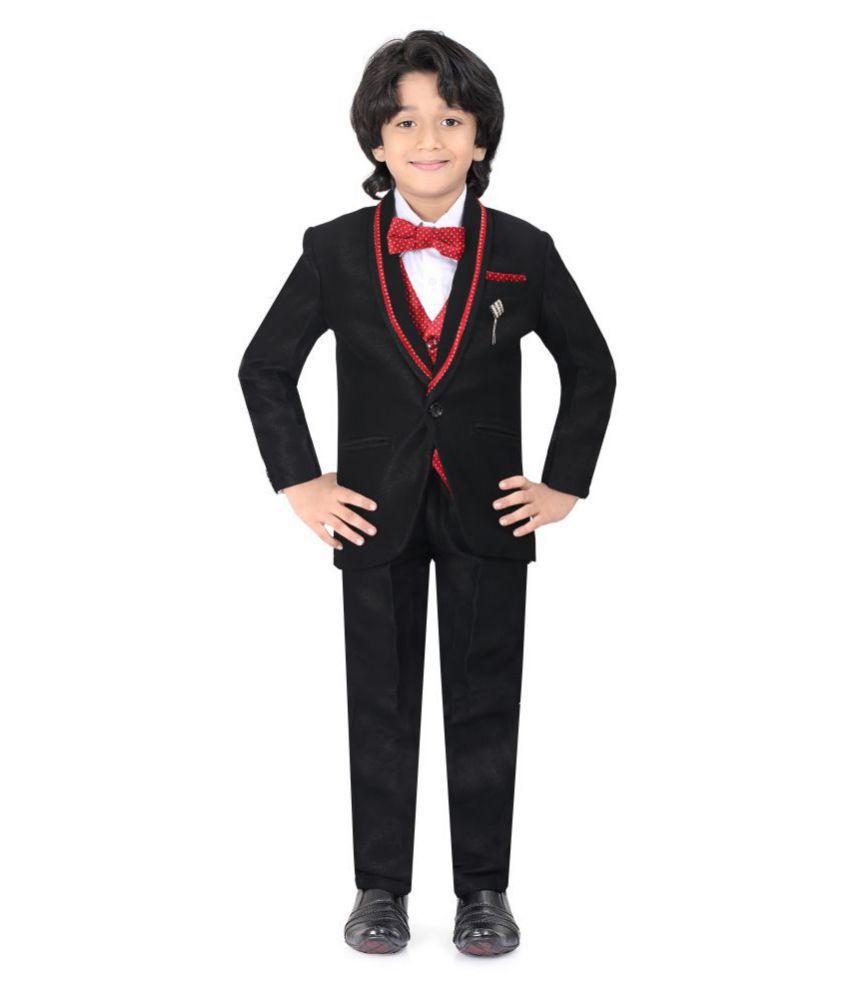 Jeetethnics Black Silk Boys Coat Suit Set