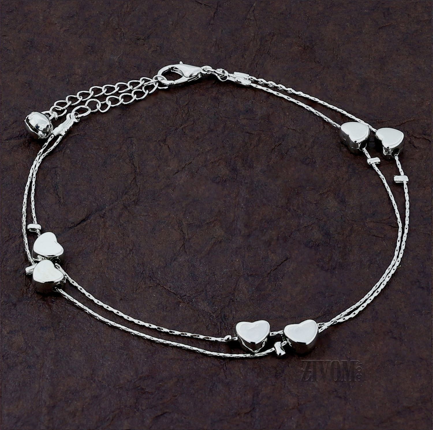 Zivom® Hearts Stylish Indo Western Dainty Delicate Charms Single Leg Anklet Payal for Women Girls
