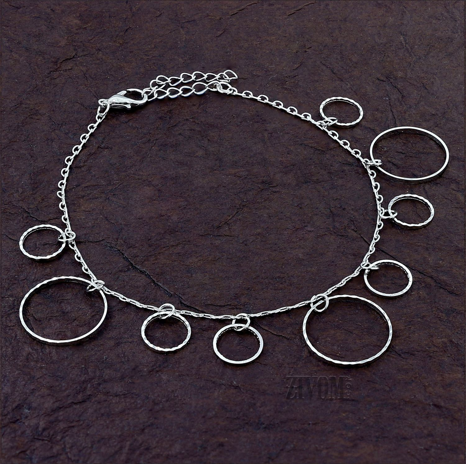 Zivom® Rings Stylish Indo Western Dainty Delicate Charms Single Leg Anklet Payal for Women Girls