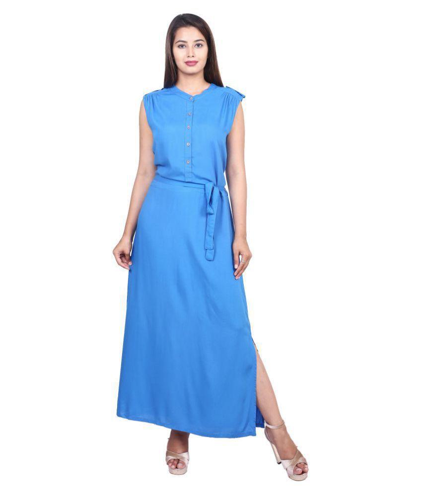 GOODWILL Rayon Blue Side Slit Dress