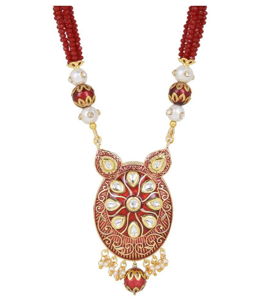Jewels Ghena Traditional Ethnic Party Wear & Wedding Unique Kundan & Pearl Pendant Set For Women & Girls