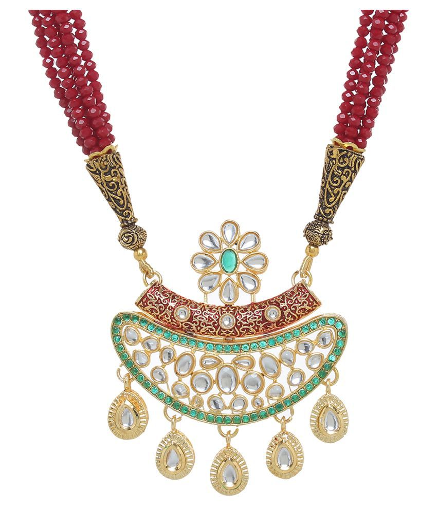 Jewels Ghena Traditional Ethnic Party Wear & Wedding Unique Kundan Pendant Set For Women & Girls