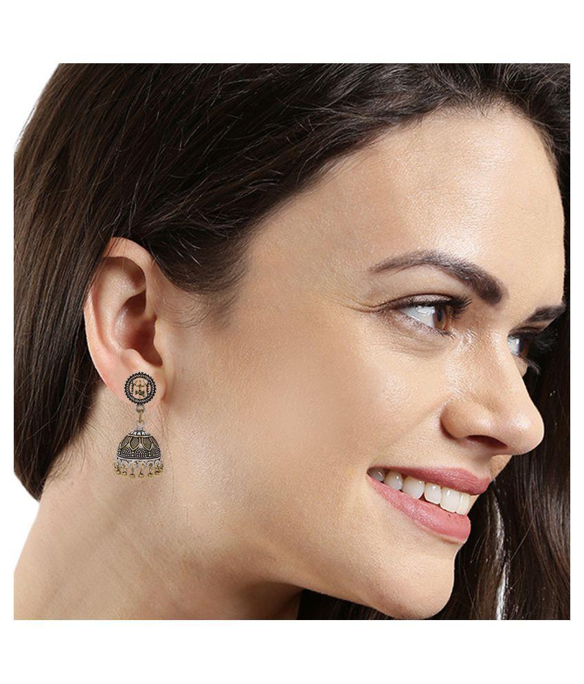 Kord Store Glamorous Treeshul & Damru Design Matt Finish Gold Plated Jhumki Earring For Women