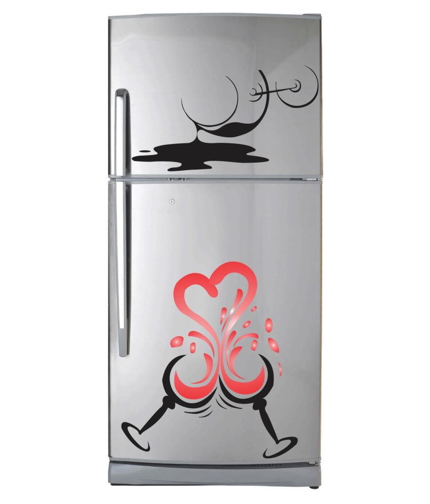 VCREATE DECOR Wine Glass & Slash Fridge Sticker ( 43 x 58 cms )