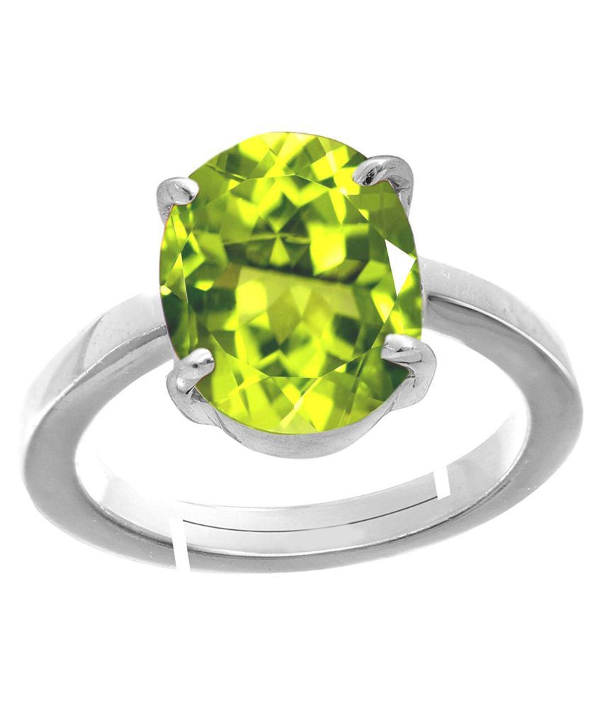 Laxmi Gems 9.25 Ratti Deluxe Quality Natural Peridot Stone silver Plated Adjustable Ring (Free Size Anguthi) 100% Gemstone By Lab Certified(Top AAA+) Quality For Unisex