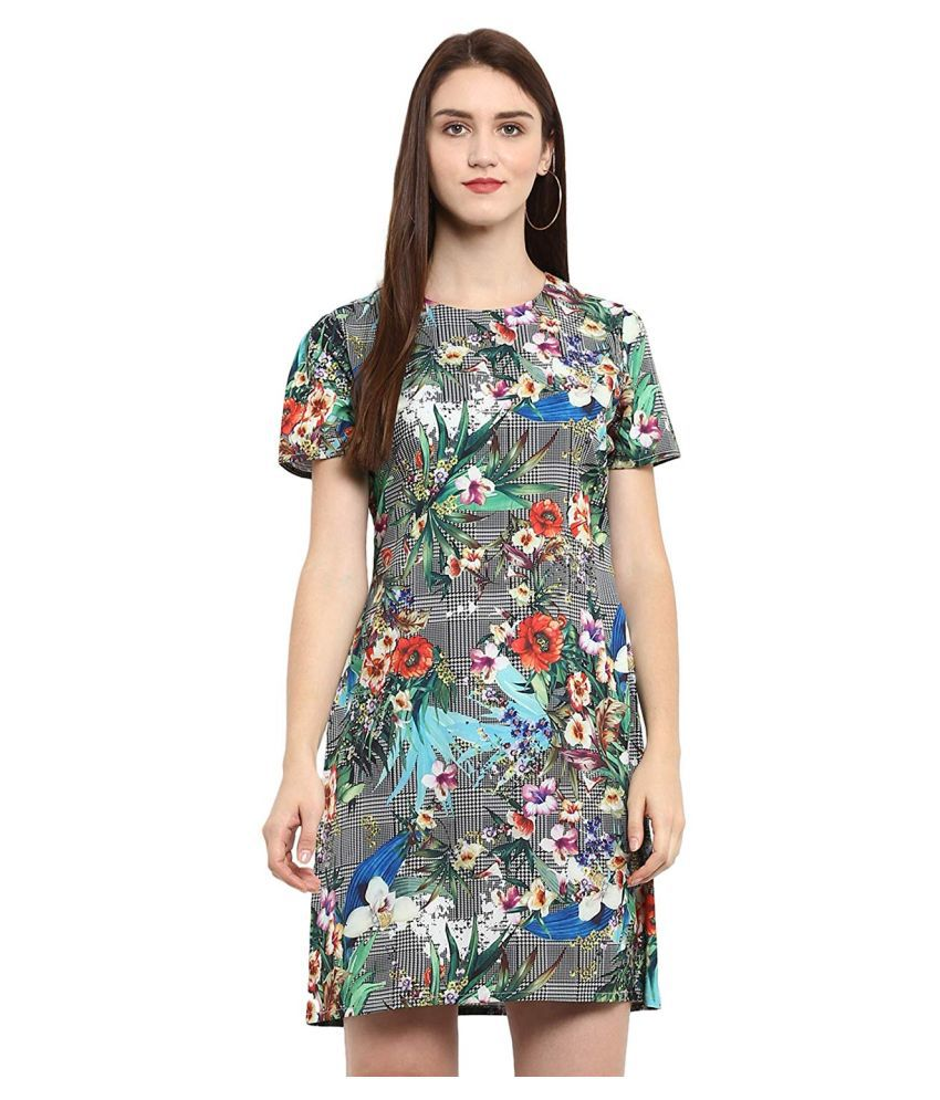 RefinedTrend Crepe Multi Color Fit And Flare Dress