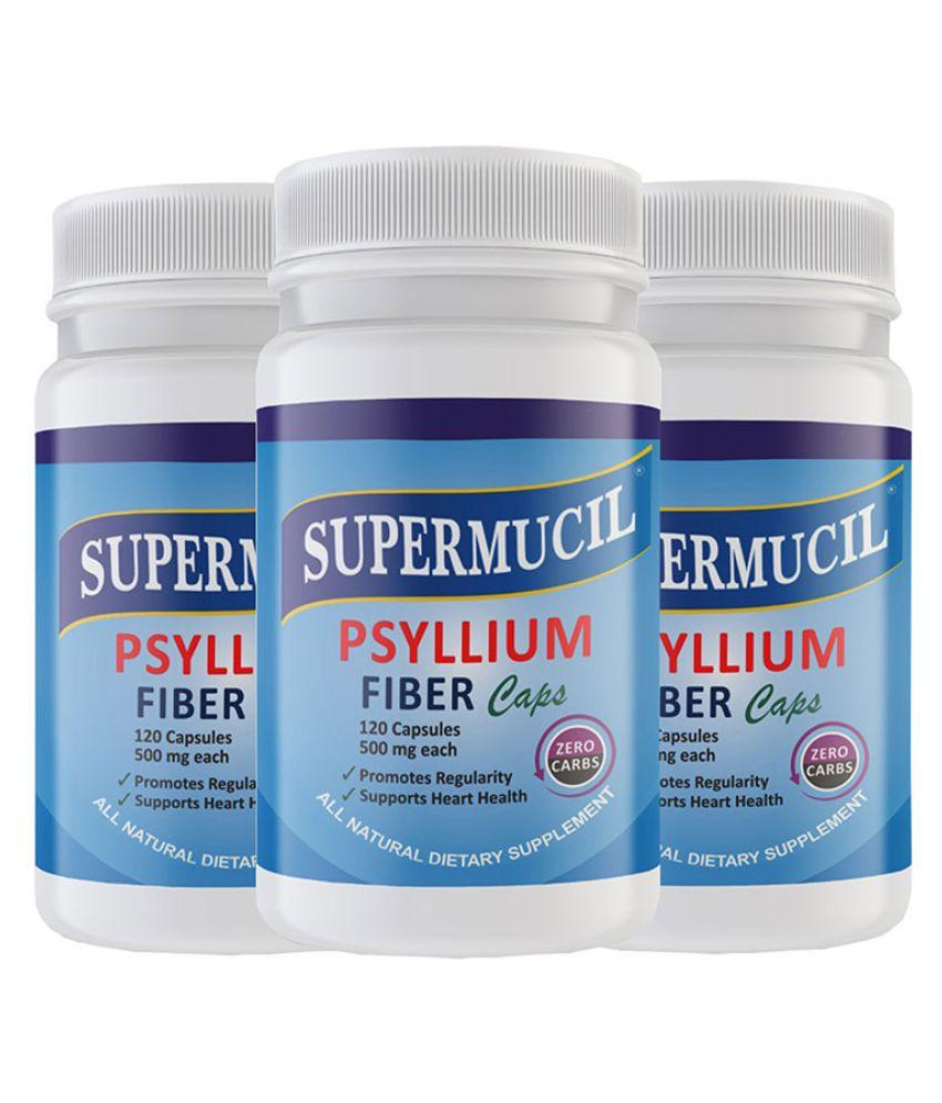 SUPERMUCIL Psyllium Husk Powder Capsule 120 no.s Pack of 3