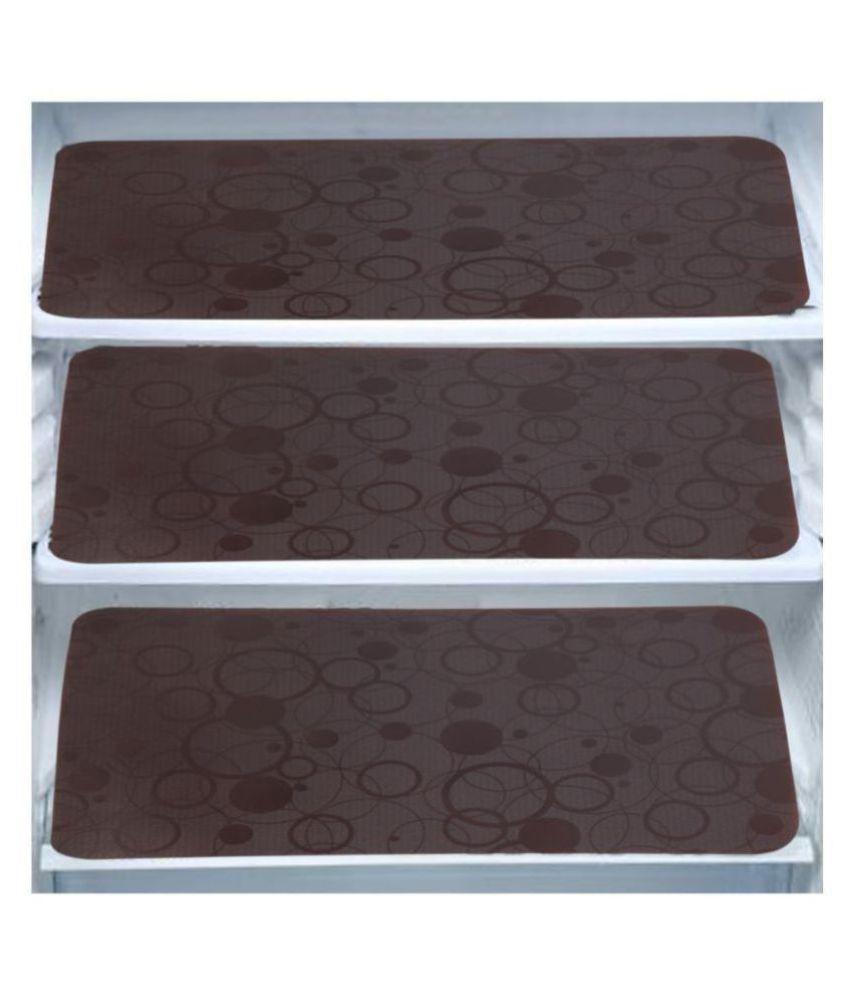 Khushi Creation Set of 3 Plastic Brown Fridge Mats