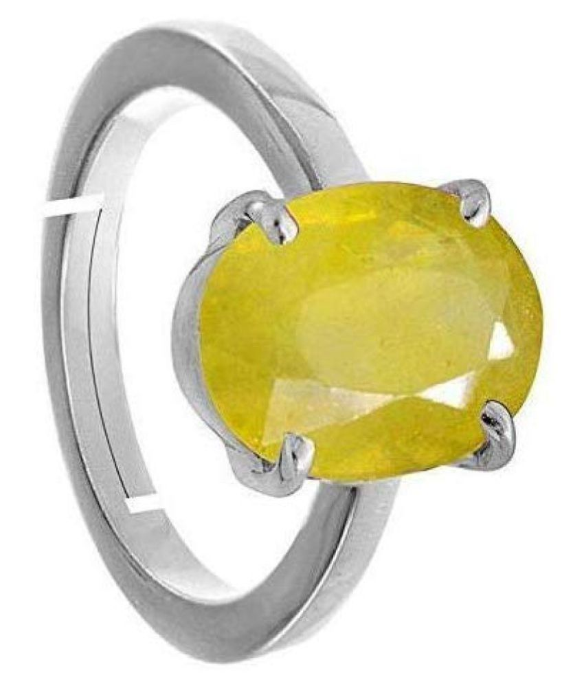 Todani Jems 9.25 Ratti 8.62 Carat A+ Quality Certified Yellow Sapphire Pukhraj Gemstone Ring For Women's and Men's