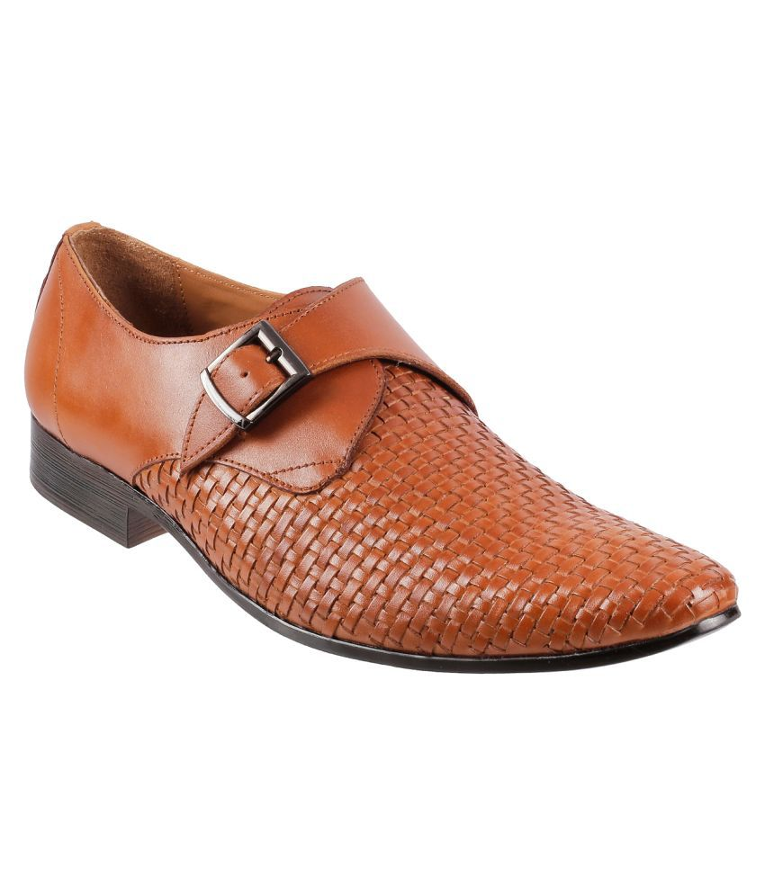 Metro Monk Strap Genuine Leather Tan Formal Shoes