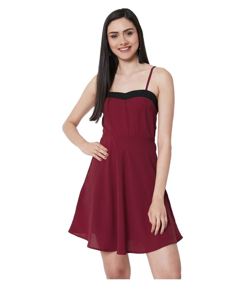 Nun Polyester Maroon Fit And Flare Dress