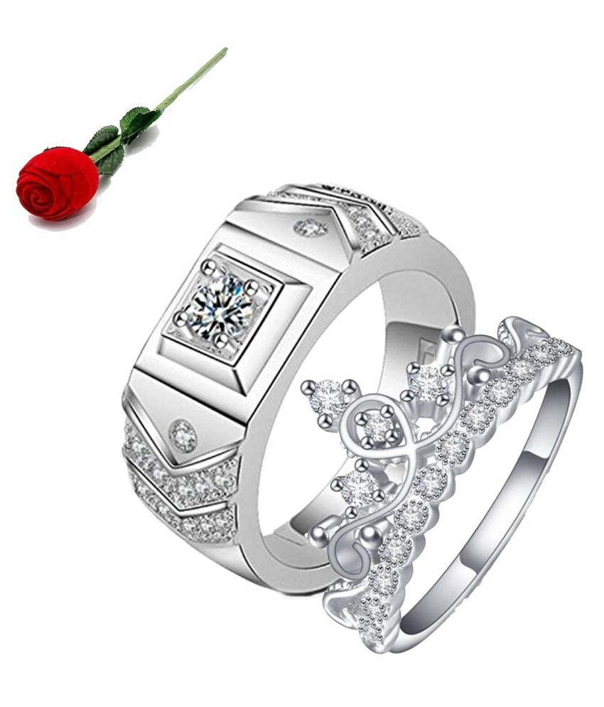 Stylish Teens Queen & King Limited Edition Love Valentine Sterling Silver Couple Rings with Rose Box Packing