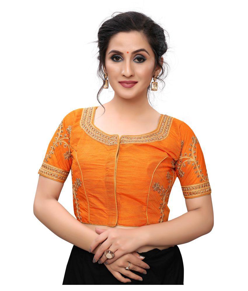Granthva Fab Orange Satin Readymade with Pad Blouse