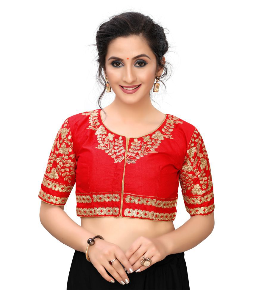 Hirvanti Fashion Red Satin Readymade with Pad Blouse