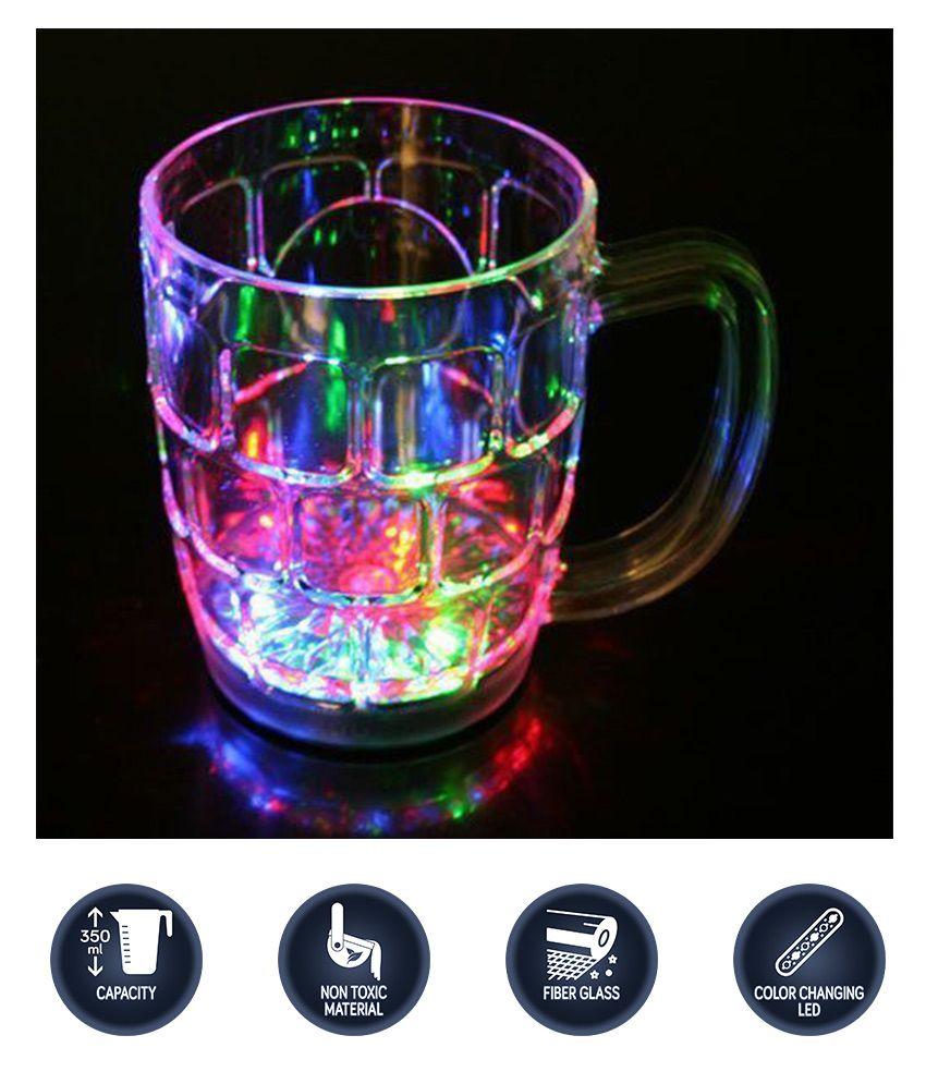 Light Changing Fiber Glass Beer Mug With Inductive Rainbow Color Disco Led 7 Colour Changing Mug 350ml