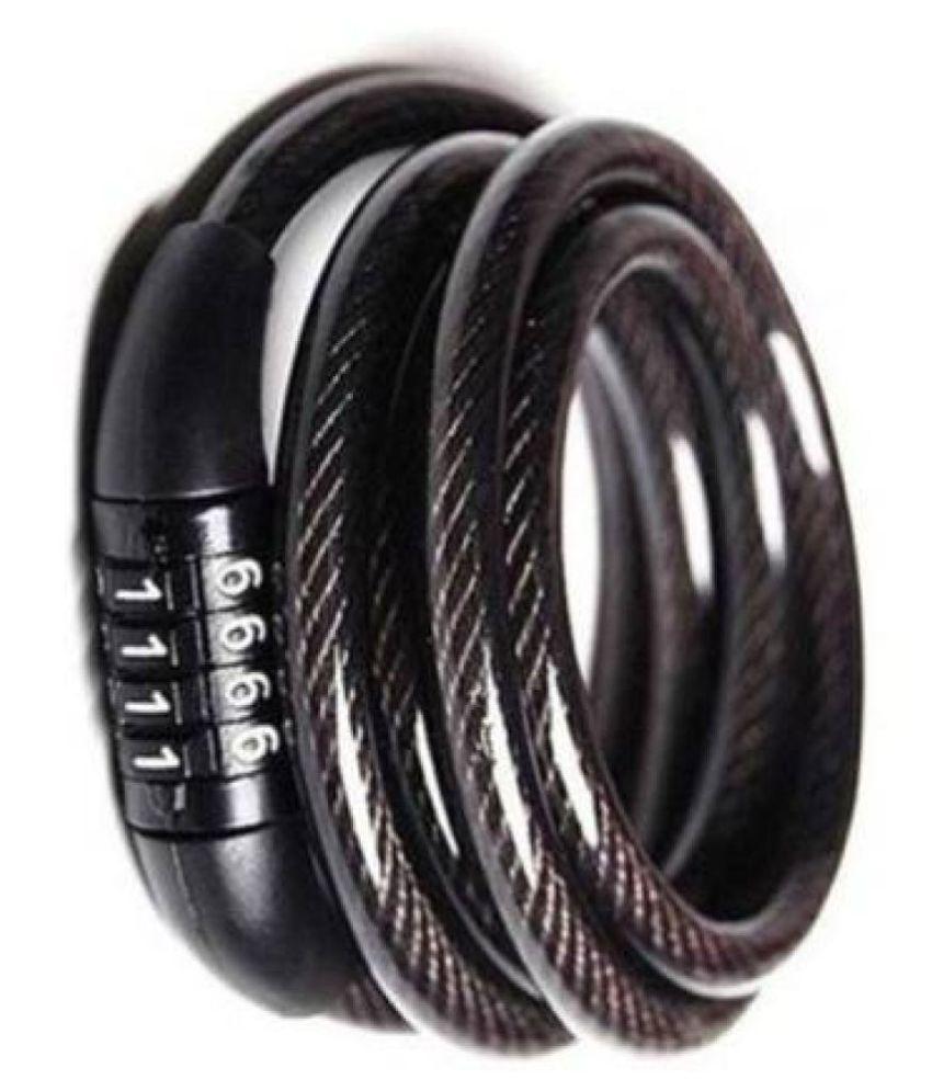 NEWGTBE Black Cable Type Helmet Lock - Non-Resettable Number Lock