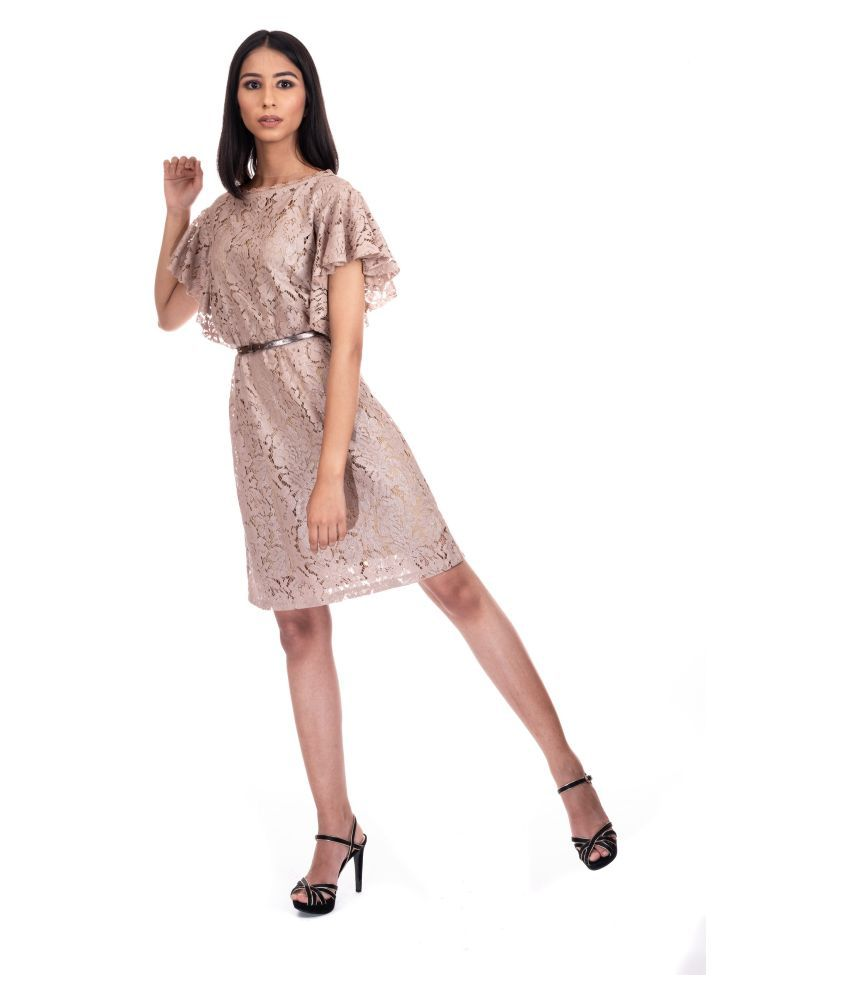 Piranha Lace Beige Fit And Flare Dress