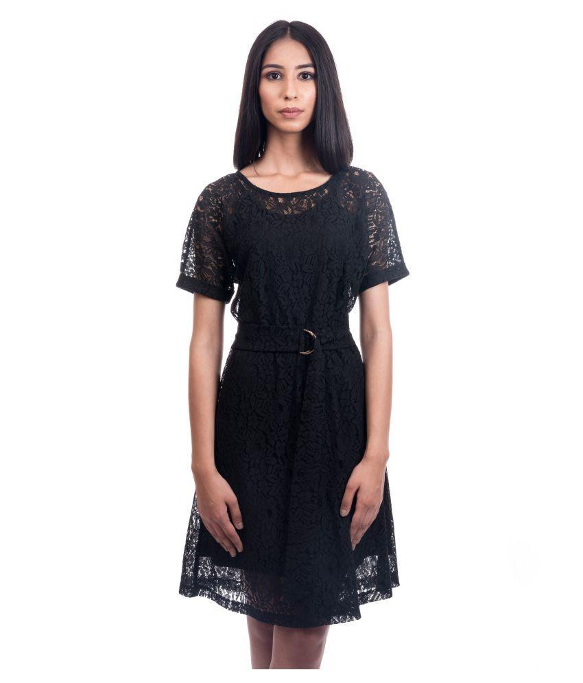 Piranha Lace Black A- line Dress