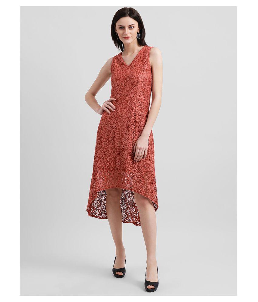 Zink London Nylon Red Asymmetric dress
