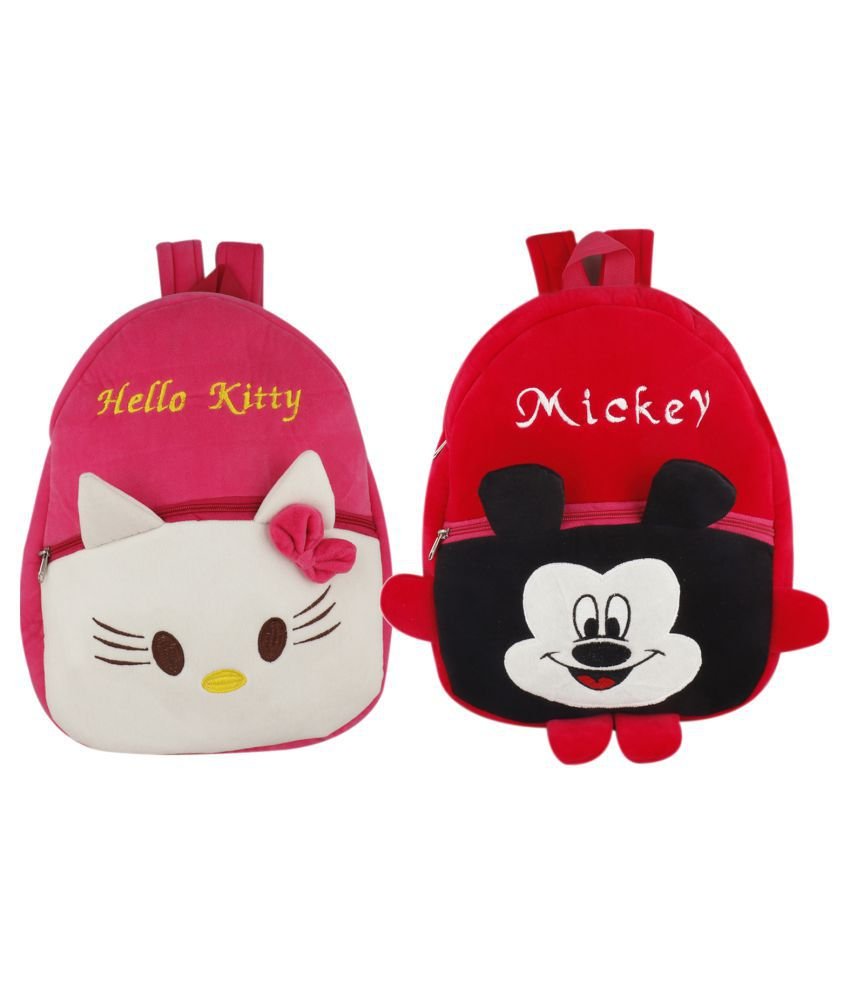 SSImpex Hello Kitty/Mickey Kids School Bag Soft Plush Backpacks Cartoon Baby Boy/Girl (2-5 Years) (Red,Pink)pack of 2