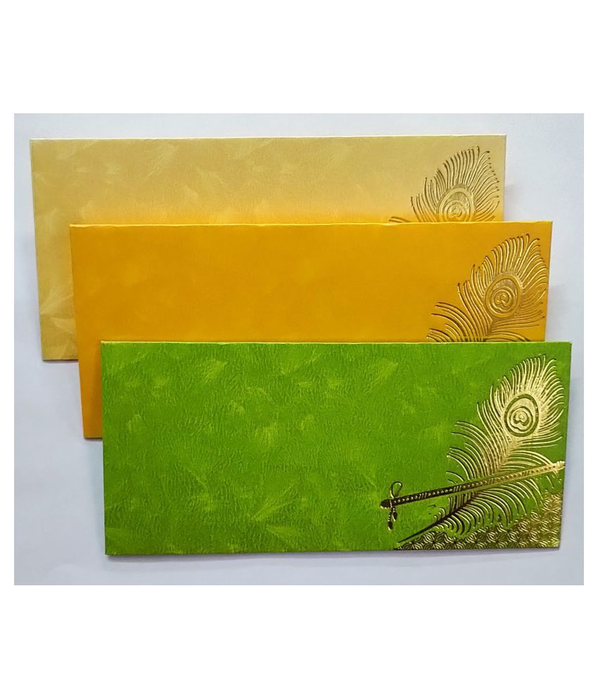 Pack of 40 Shagun Envelopes with Peacock Printing Design