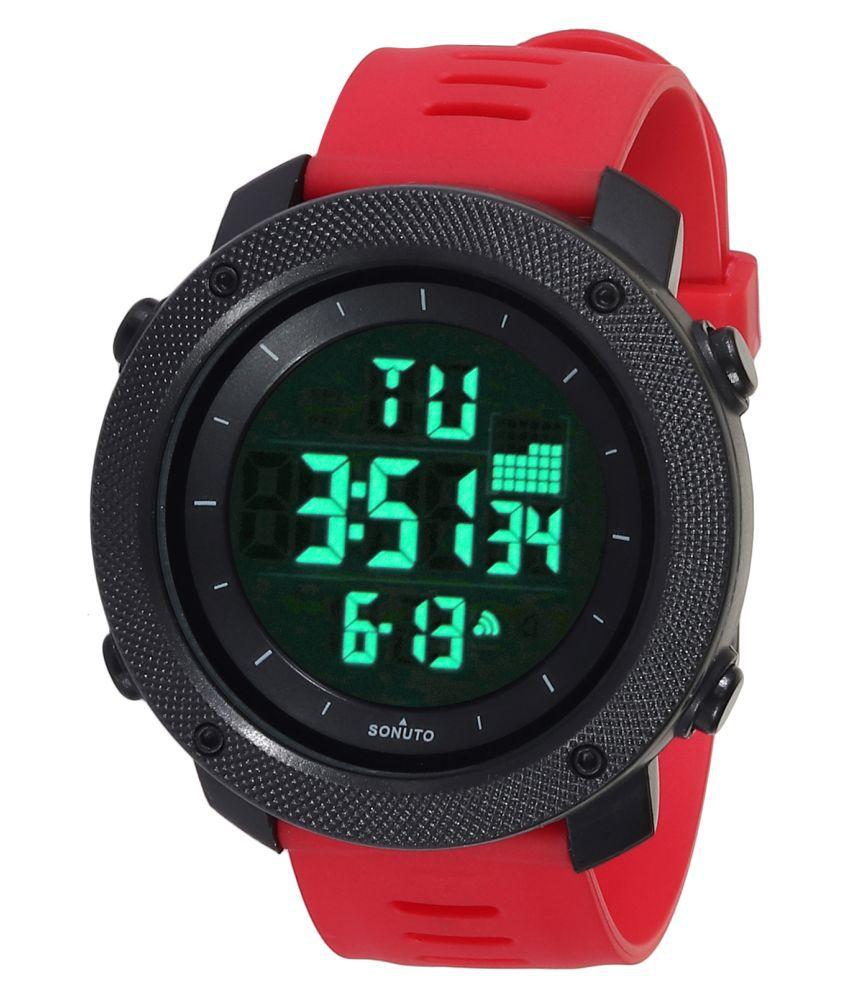 Sonuto SNT-9064-Red Resin Digital Men's Watch