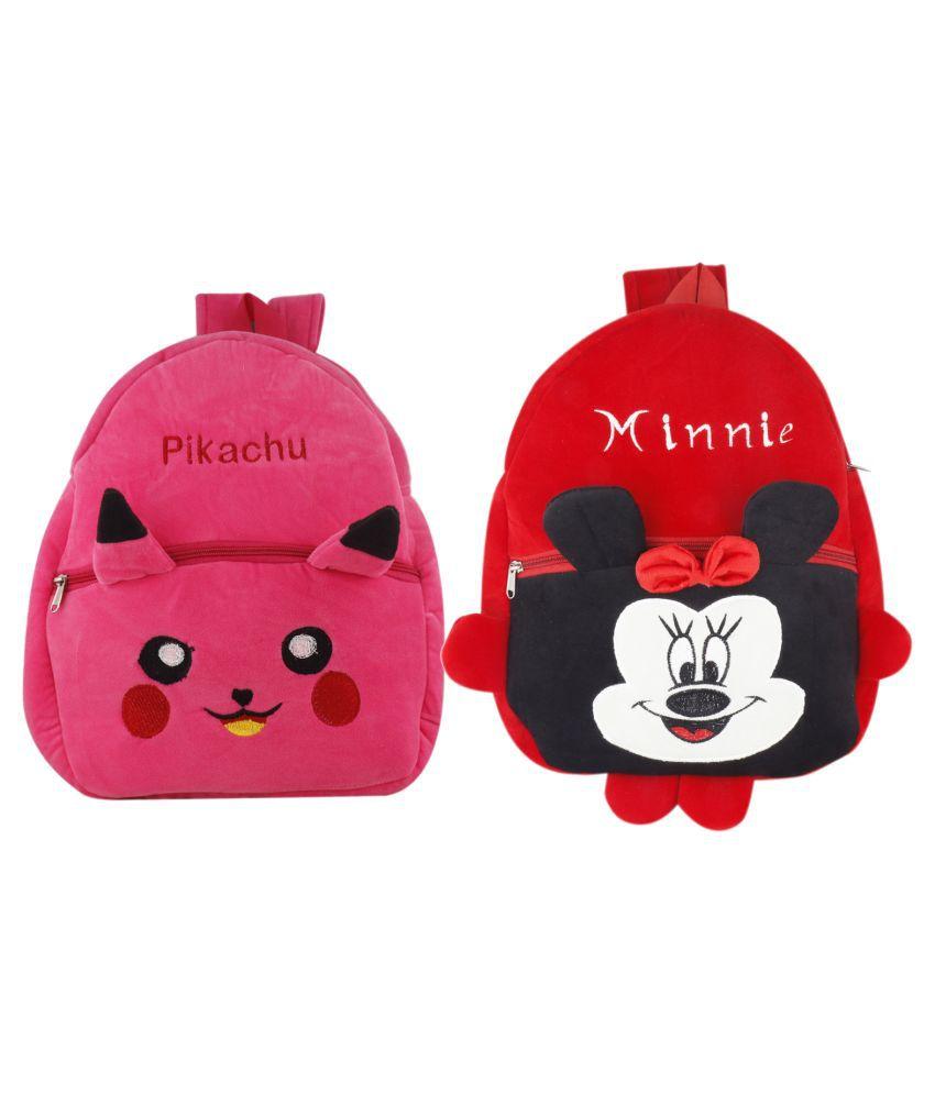 SSImpex Pikachu Minnie Kids School Bag Soft Plush Backpacks Cartoon Baby Boy Girl (2-5 Years) (Red,Pink) Pack of 2