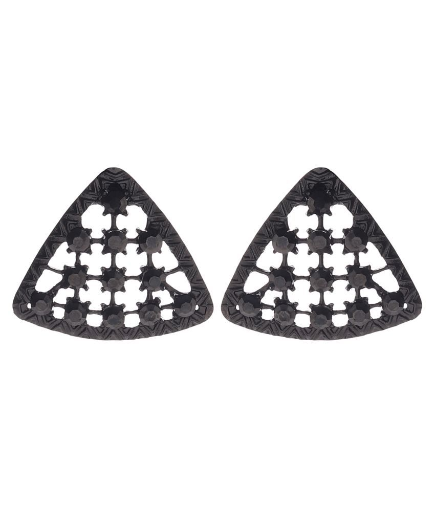 Aaralena Black Stone Embellished Earrings With Triangle Shape For Women's & Girls