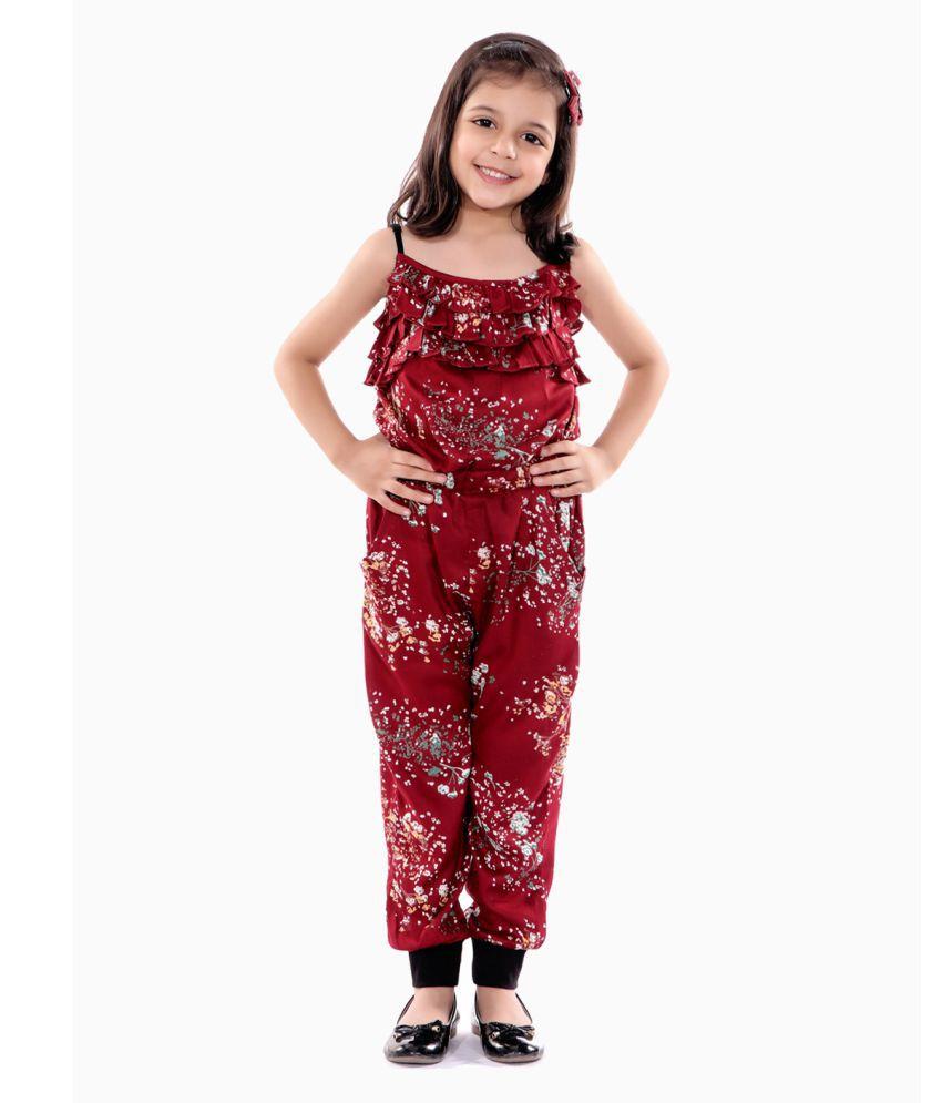 Naughty Ninos Girls Maroon Floral Printed Jumpsuit