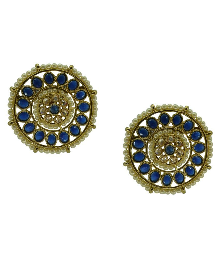 Antique Gold Plated Earring Tops With Blue Color Stone's & Brass Metal And Gold Plated Earring For Bridal And Festival Latest New Designe Traditional Indian Bollywood Style Earring Tops Saloni fashion Jewellery