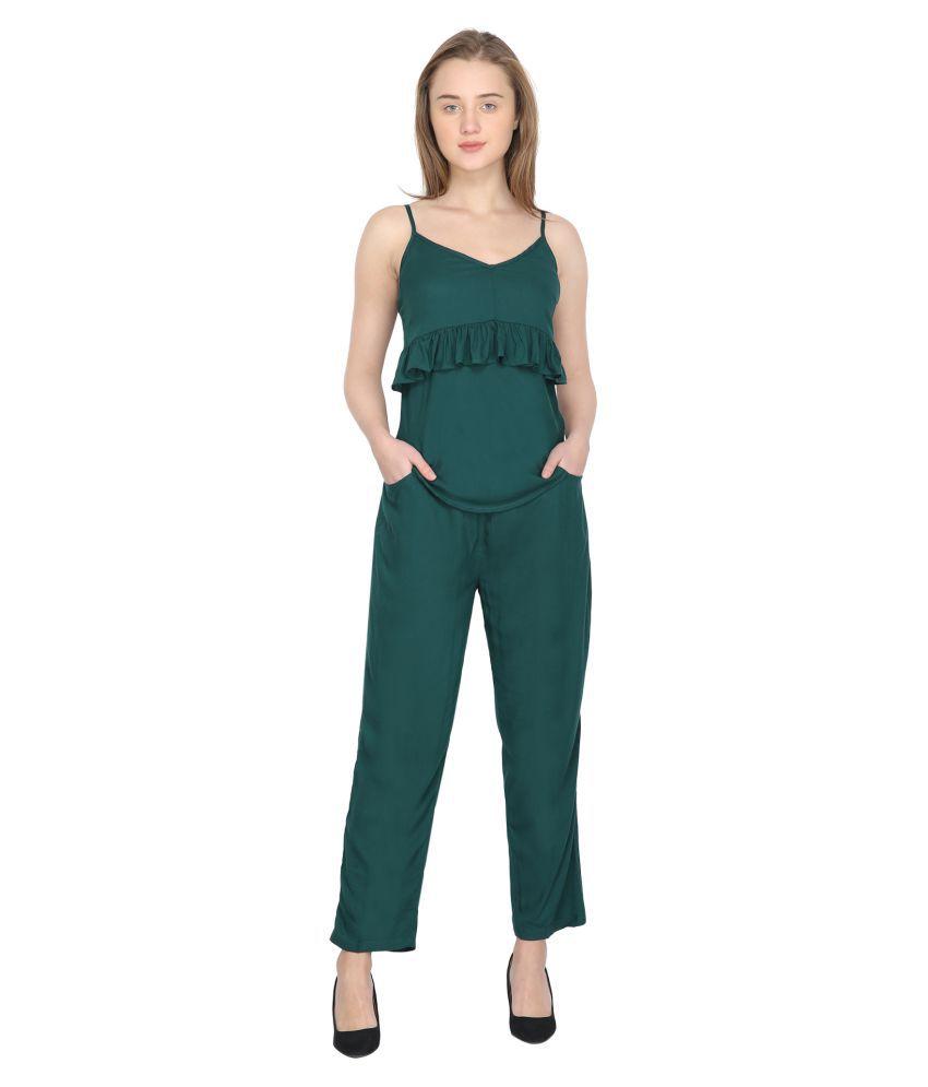 Da Classy Turquoise Cotton Lycra Jumpsuit