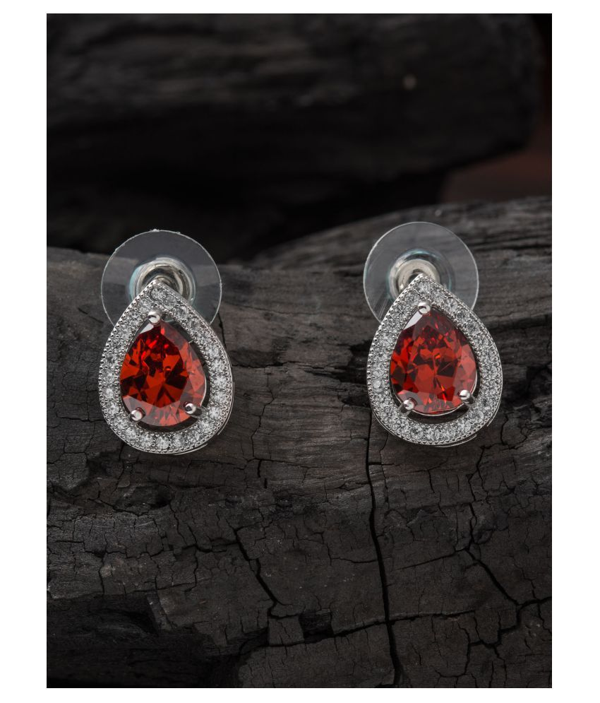 E2O Rhodium Plated Pear Shaped Red Stone Stud Earring