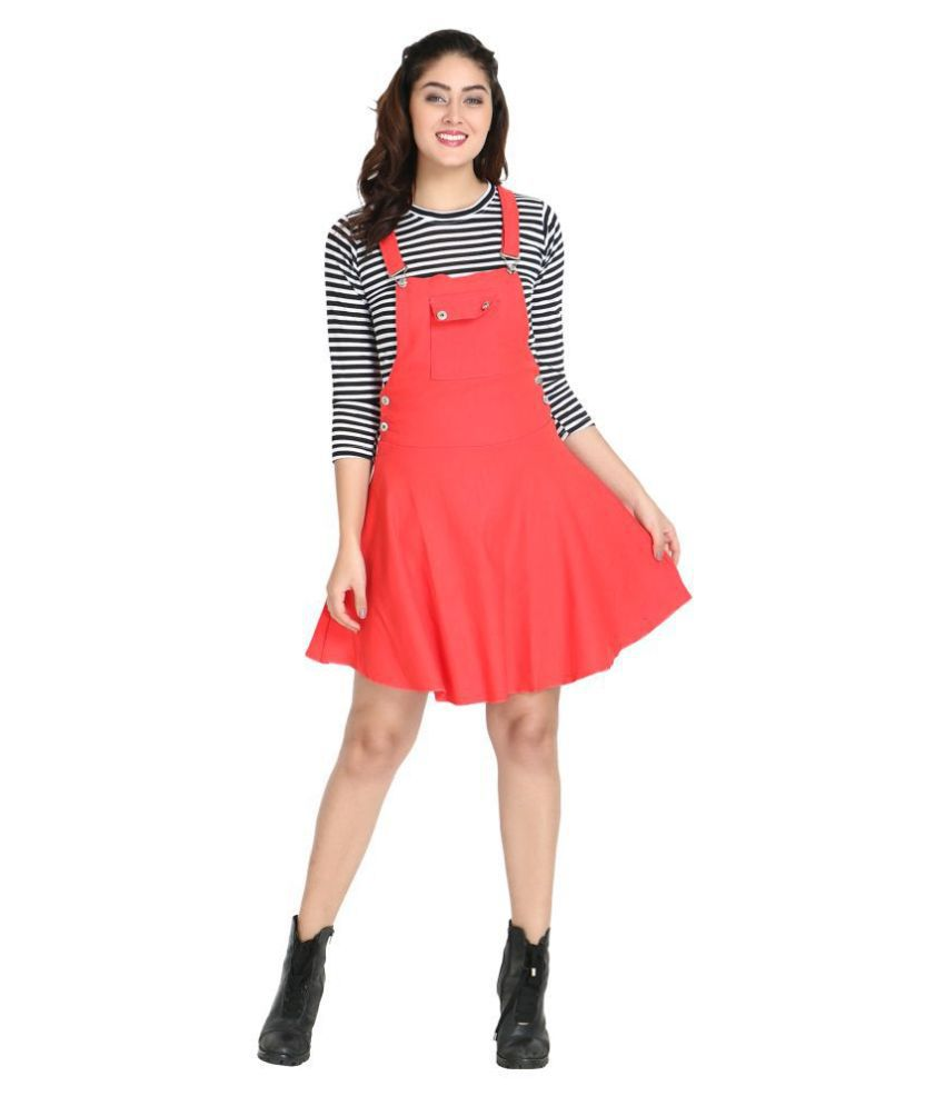 BuyNewTrend Cotton Lycra Red Dungaress/Pinafore