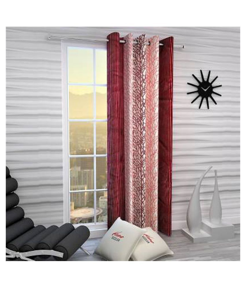 Zatchbell Single Window Semi-Transparent Eyelet Polyester Curtains Red