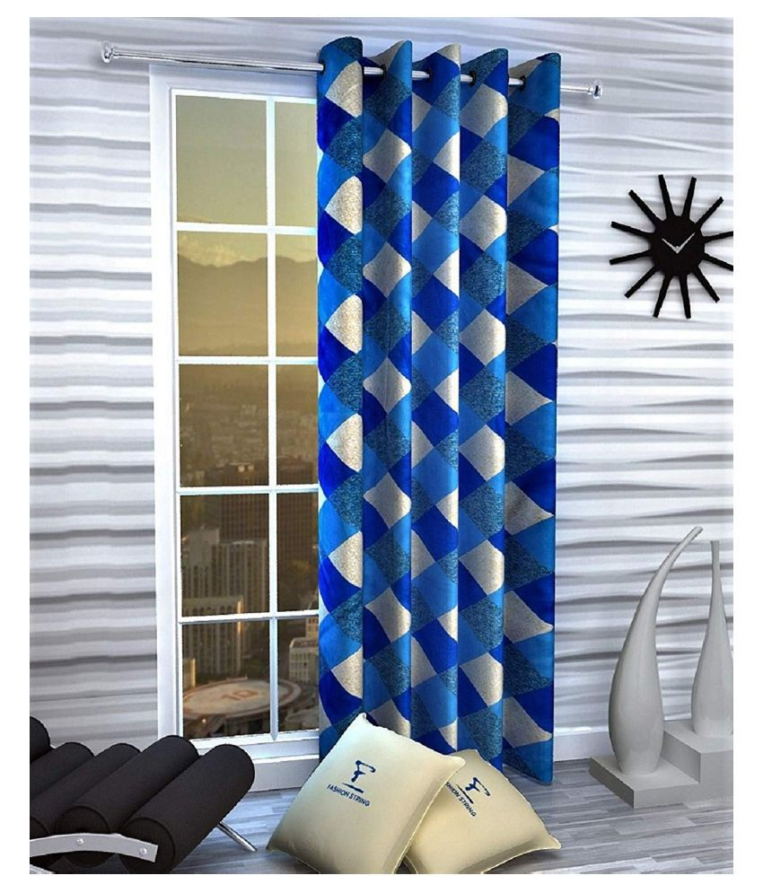 Zatchbell Single Window Semi-Transparent Eyelet Polyester Curtains Blue