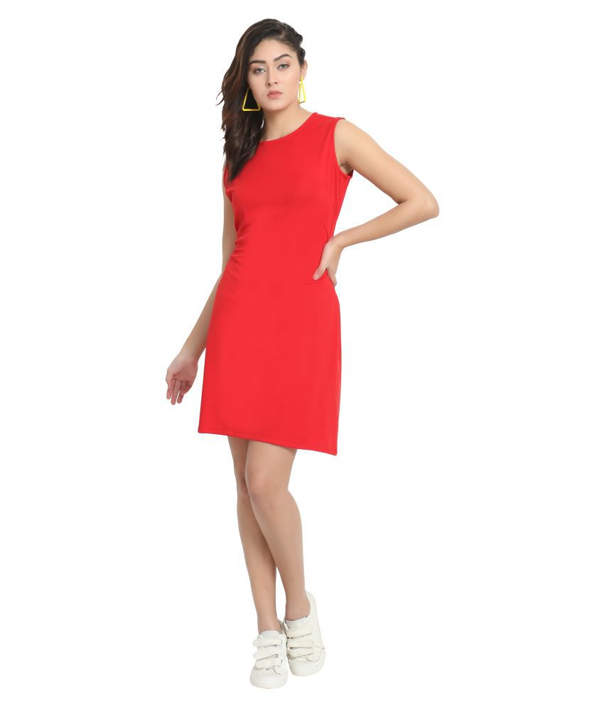 Diaz Viscose Red Regular Dress