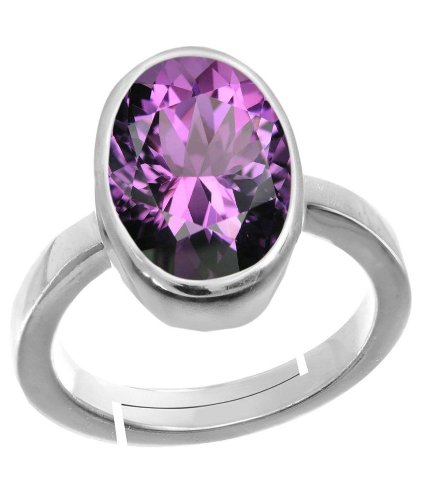 Laxmi 10.25 Ratti Natural Amethyst Gemstone Adjustable Ring Stone Origional and Certified Katela Precious Stone Free Size Anguthi Unheated and Untreated Gems for Astrological Purpose