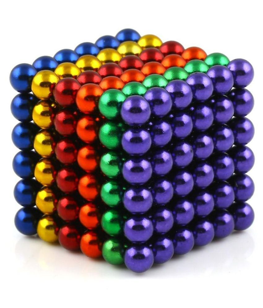 5MM Magnetic Ball (216 nos.) Set for Kids, Office Stress Relief Desk Sculpture Toy Perfect for Crafts, Jewelry and Education Magnetized Fidget Cube Provides Relief for Anxiety