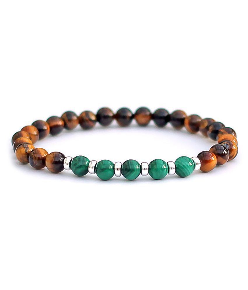 6mm Yellow Tiger With Green Malachite Natural Agate Stone Bracelet