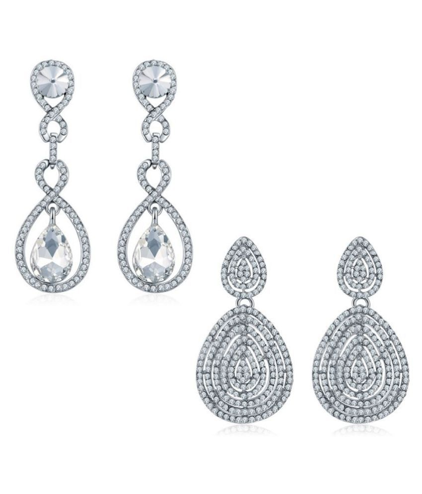 Jewels Galaxy Crystal Elements Sparkling Off-White Platinum Plated Drop-Earrings Combo For Women/Girls - Combo Of 2