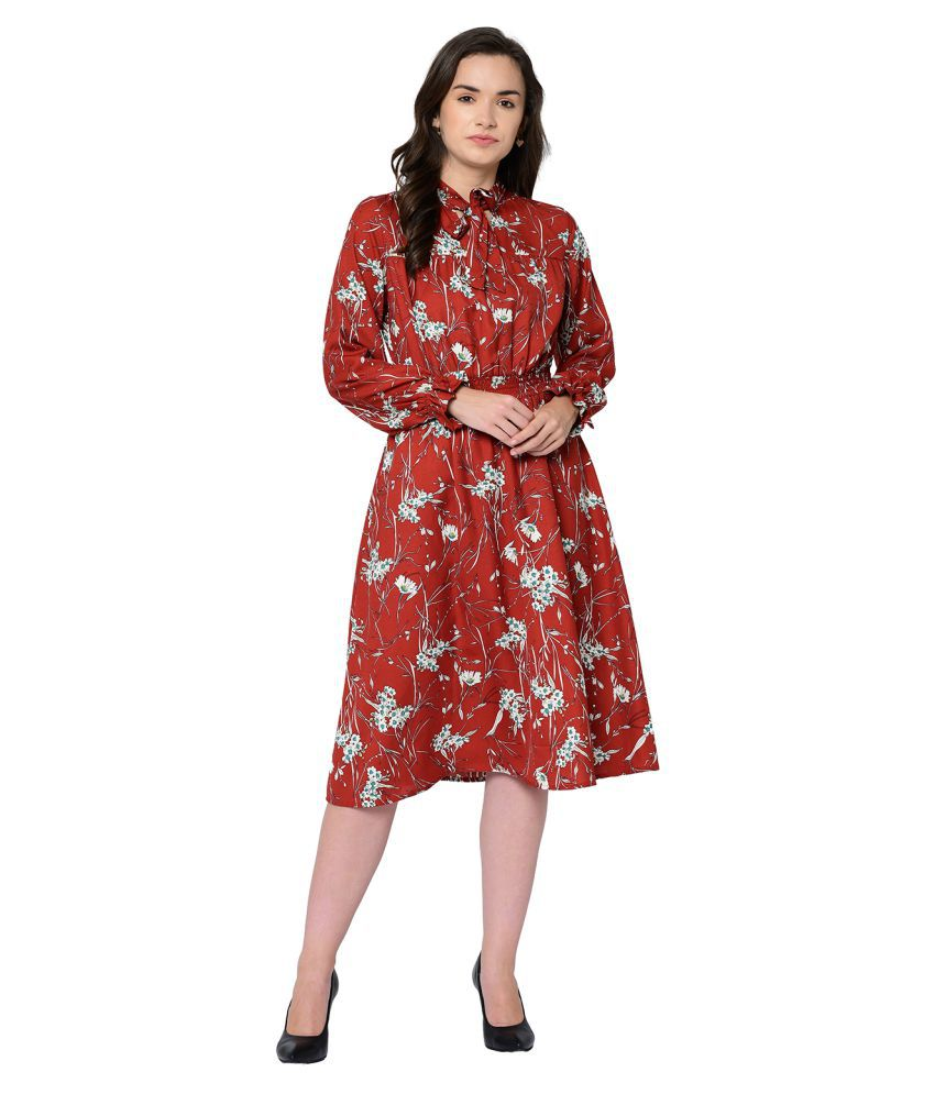 2Bme Polyester Red Fit And Flare Dress